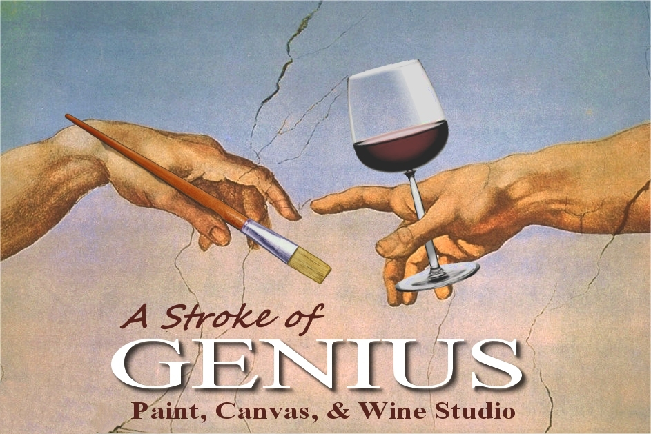 a stroke of genius paint canvas wine studio in